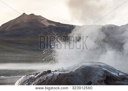 Detail Of Active Geyser Formation At El Tatio, Atacama, Chile. Active Geysers Comes Out Of The Groun