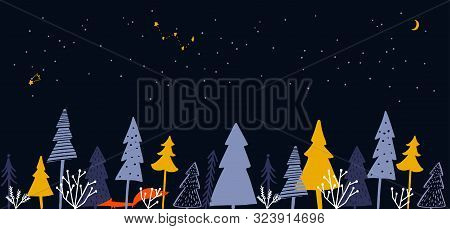 Horizontal Banner With Winter Forest Illustration. Christmas Trees, Spruce, Orange Fox At Night Land