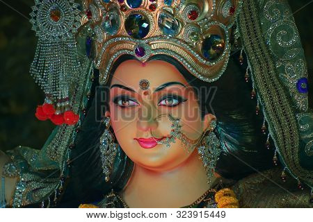 Abstract Background Of Goddess Durga, Idol Of Goddess Durga, Sculpture Of Goddess Durga, Durga Puja,