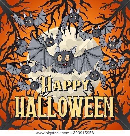 Happy Halloween Postcard Template. Vampire Bats Flying Swarm Cartoon Character