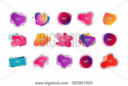 Bright Multi Layer Irregular Shapes Set. Multicolored Abstract Figures And Lines With Sample Text. T