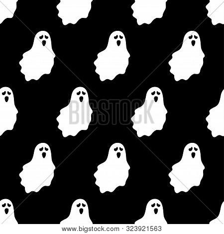 Seamless Pattern With Ghost Characters On Black Background, Vector Illustration