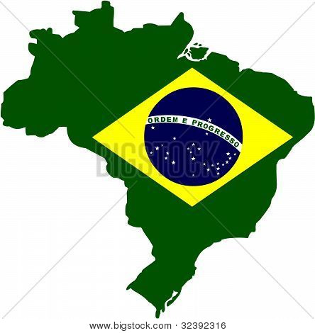 Brazil Country outline and Flag