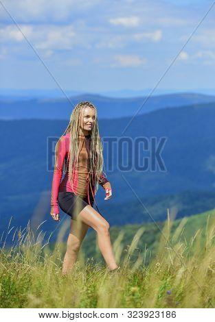 Trekking Hobby. Active Leisure. Athletic Girl Enjoy Trekking. Vacation Ideas. Healthy Lifestyle. Spo