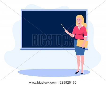 Teacher With A Pointer Shows On The Blackboard. A Young Girl With A Pointer And A Folder In Her Hand