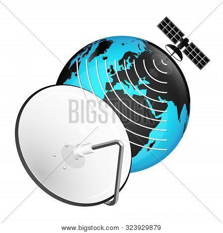 Satellite Dish And Globe Signal Tv, Vector