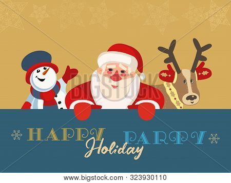 Hand Drawn Winter Season Holiday Party Flat Color Vector. Merry Christmas Celebration Background. Ca