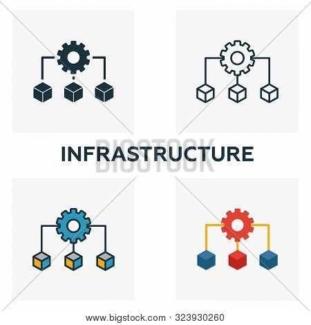 Infrastructure Icon Set. Four Elements In Diferent Styles From Community Icons Collection. Creative