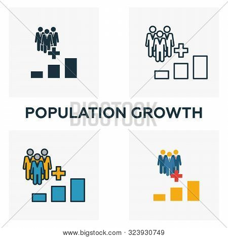 Population Growth Icon Set. Four Elements In Diferent Styles From Icons Collection. Creative Populat