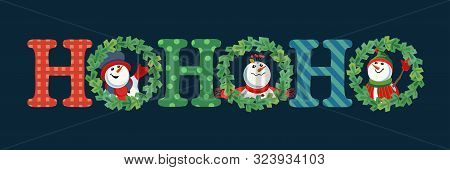 Hand Drawn Christmas Holiday Vector Decoration. Cute Winter Frosty Snowman In X-mas Tree Wreath Cart