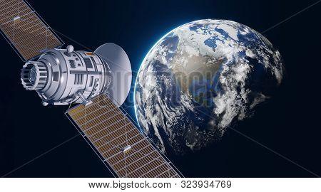 Space Satellite Communication In Orbit Around Earth. 3d Render Orbital Sputnik Illustration. Element