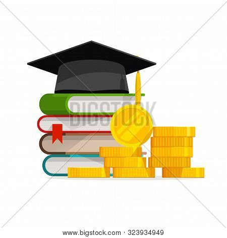 Graduation Cost Or Expensive Education Or Scholarship Loan Vector, Flat Cartoon Money Stack Of Books