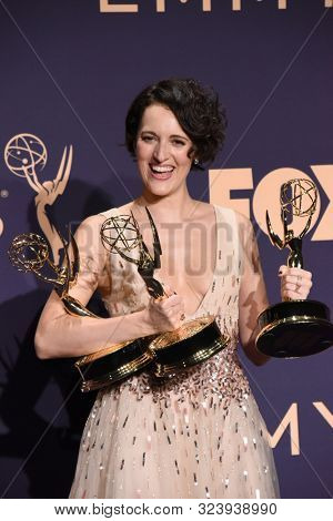 LOS ANGELES - SEP 22:  Phoebe Waller-Bridge at the Emmy Awards 2019: PRESS ROOM at the Microsoft Theater on September 22, 2019 in Los Angeles, CA