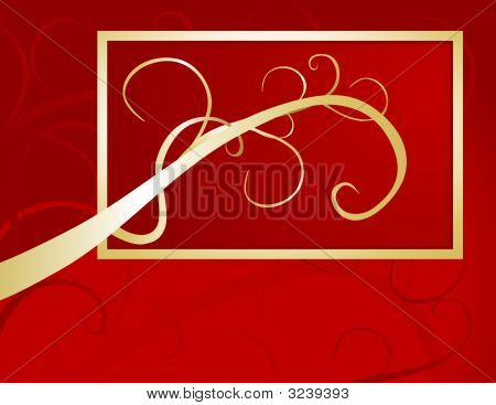 Golden Swash On Red Background