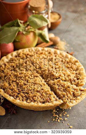 Traditional Fall Seasonal Dessert, Apple Pie With Streusel Crumb Topping