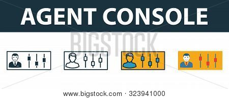 Agent Console Icon Set. Premium Symbol In Different Styles From Customer Service Icons Collection. C