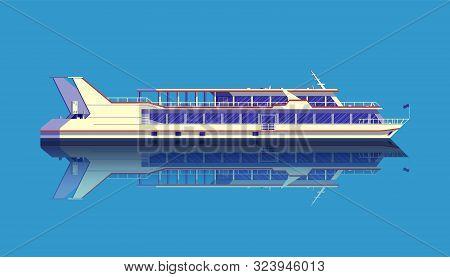 Pleasure Boat Or Passenger Liner Detailed Vector Illustration.