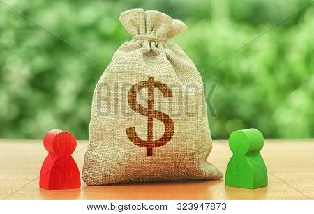 Money Bag With Money Dollar Symbol And Two People Figures. Business Investment And Lending, Leasing.