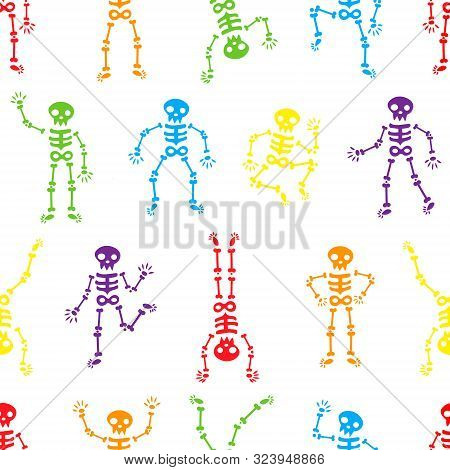 Halloween Dancing Skeletons Seamless Pattern. Funny Colored Skeletons On The White Background. Happy