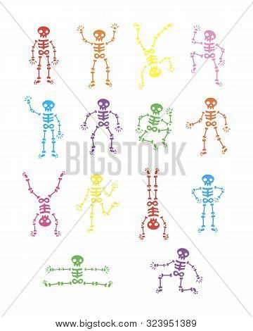 Skeletons Dancing. Funny Dancing Skeleton Vector Illustration Background. Running And Jumping Colore