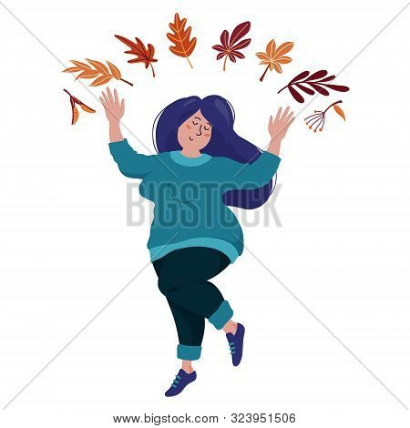 Pretty Young Chubby Woman In Long Sweater, Shoes And Jeans Dancing Happily Under Falling Leaves, Aut