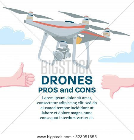 Pros And Cons Of Drone Technology, Banner Poster Design Template With Quadcopter Flying In Sky And H