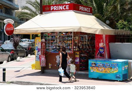 RETHYMNO, Crete, Greece - Msy 27, 2008: A traditional periptero, or roadside news and goods stall, in the Cretan city of Rethymno.