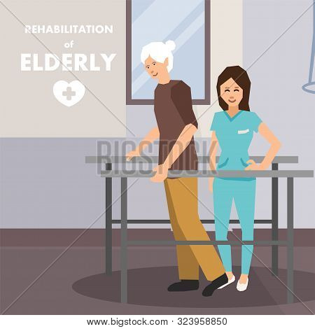 Rehabilitation For Elderly On Parallel Bars Advert. Flat Cartoon Poster. Old Disabled Man And Physio