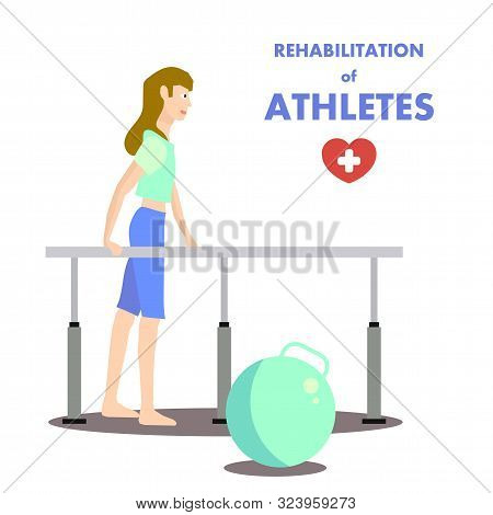 Parallel Rehabilitation Bars For Athletes Recovery. Advertising Poster For Fitness Studio And Physio