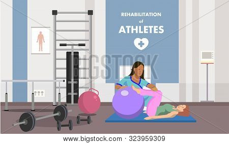 Rehabilitation In Physiotherapeutic Gym Class Ads. Flat Banner Advertises With Physical Muscles Reco