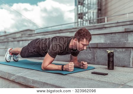 Man In Training Summer City, Stands Emphasis Lying Down, Plank, Abs Training, Abdominal Muscles, Str