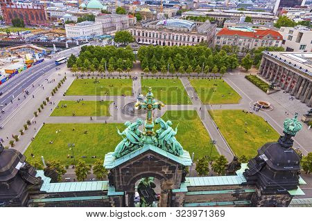 Berlin, Germany - July 2, 2014: Aerial View Of Lustgarten - Park In Front Of The Berliner Dom, Museu
