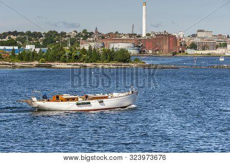 New Bedford, Massachusetts, Usa - September 24, 2019: Demasted Sailboat Juno, Hailing Port Vineyard