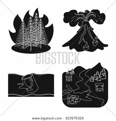 Vector Illustration Of Calamity And Crash Logo. Set Of Calamity And Disaster Stock Symbol For Web.