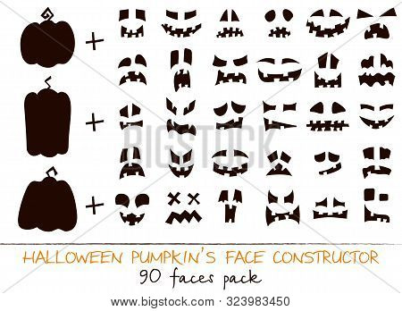 Halloween Pumpkin Flat Kit Face Constructor. Character Creation Sign Collection Nose, Mouth, Cute Sm