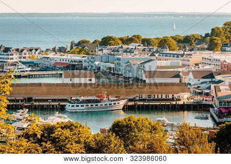 Mackinac Island Mi /usa - July 9th 2016: Elevated View Of Downtown Mackinac Island