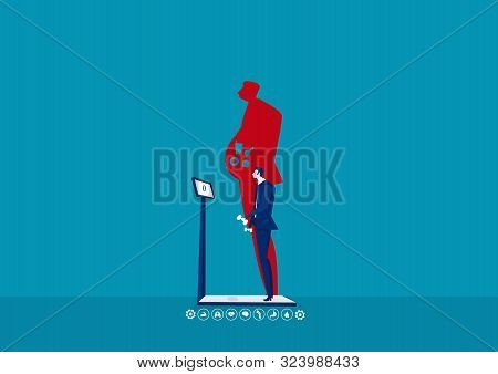 Businessman On Weight Loss After Diet  Balancing Junk Food Healthy Lifestyle. Vector Illustration In