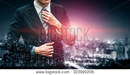 Double Exposure Image Of Business Person