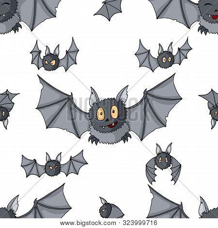 Seamless Pattern Of Cartoon Bats. Cute Vampire Bat, Flying Mammal Backdrop