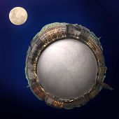 Montage of a planet with a panorama of Hamburg Germany and the moon poster