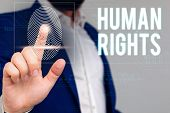 Writing note showing Huanalysis Rights. Business photo showcasing Moral Principles Standards Norms of a showing protected by Law Male wear formal work suit presenting presentation smart device. poster