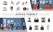 Flat law system composition with defendant lawyer jury judge police officer in courthouse and colorful justice icons vector illustration poster
