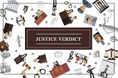 Flat law and judicial system concept with lawyers jury judge gavel scales police officer defendant Themis statue handcuffs magnifier documents vector illustration poster