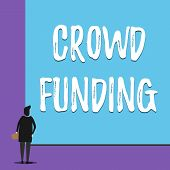 Conceptual hand writing showing Crowd Funding. Business photo showcasing Fundraising Kickstarter Startup Pledge Platform Donations Back view young woman watching blank big rectangle. poster