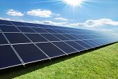 solar panels perspective in a sunny day poster