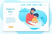Fathers Day landing page vector template. Parenting, fatherhood vector web banner. Father educating kid isolated clipart. Family time. Parent teaching toddler reading design element poster