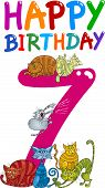 cartoon illustration design for seventh birthday anniversary poster