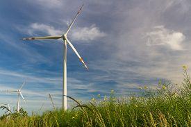 Eco Power. Wind Farm. Renewable Energy Resources. Wind Turbine Field In Poland