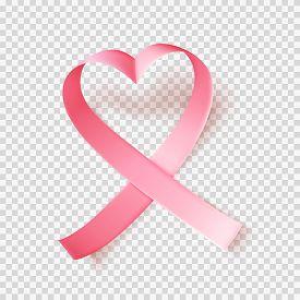 Symbol Of World Breast Cancer Awareness Month In October. Pink Ribbon Over Transparent Background. H