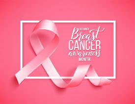 Realistic Pink Ribbon, Breast Cancer Awareness Symbol, Vector